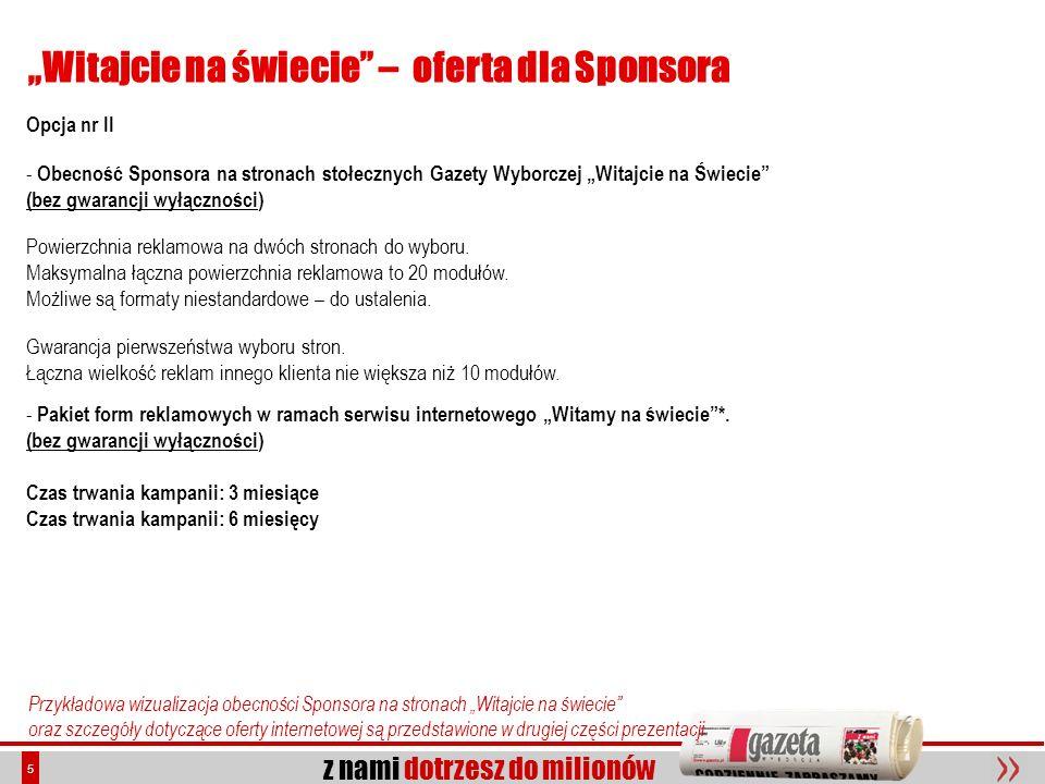 """""""Witajcie na świecie – oferta dla Sponsora"""