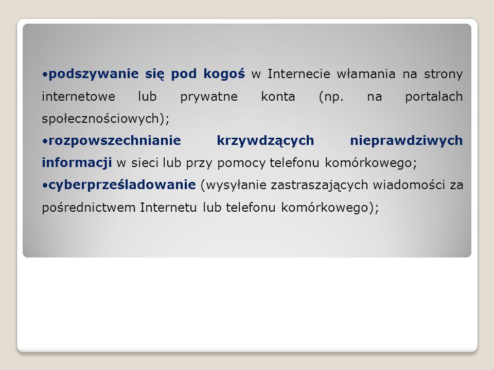 podszywanie się pod kogoś w Internecie włamania na strony internetowe lub prywatne konta (np. na portalach społecznościowych);