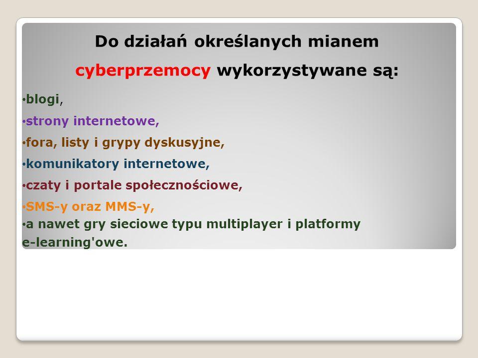 Do działań określanych mianem cyberprzemocy wykorzystywane są: