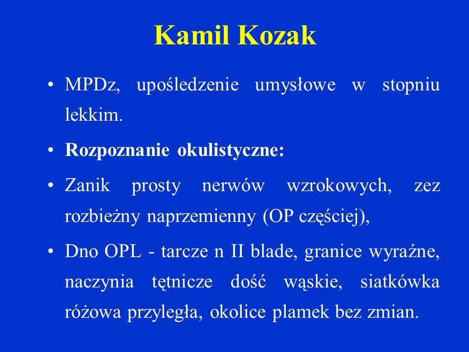 Kamil Kozak MPDz, upośledzenie umysłowe w stopniu lekkim.