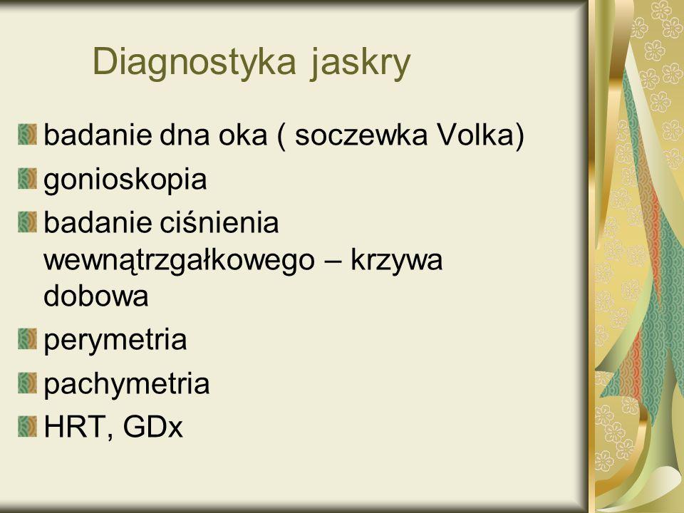 Diagnostyka jaskry badanie dna oka ( soczewka Volka) gonioskopia