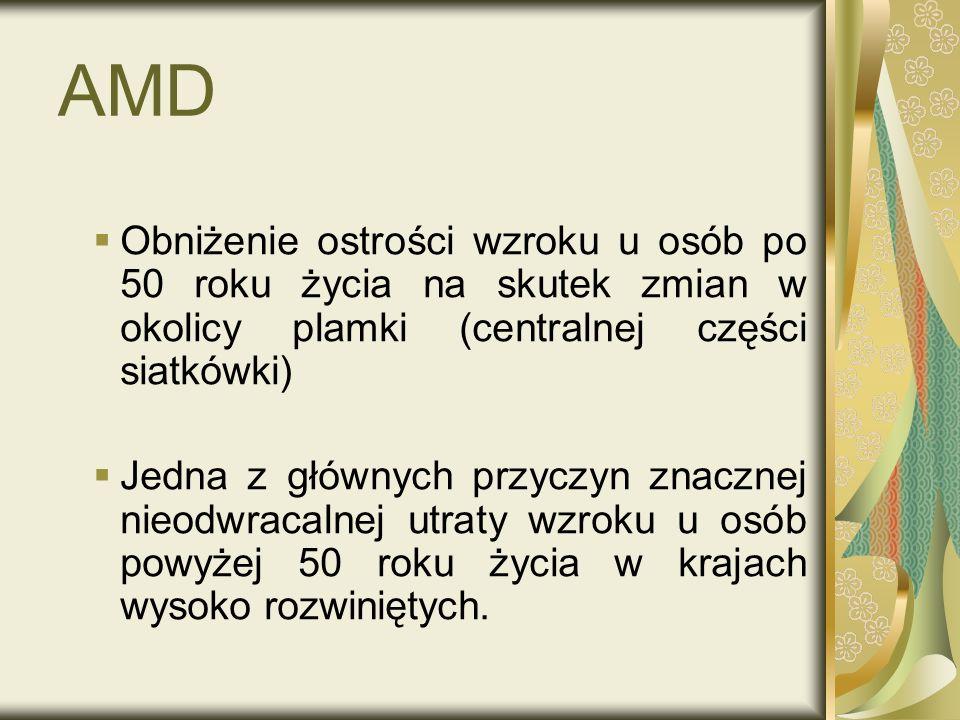 AMDObniżenie ostrości wzroku u osób po 50 roku życia na skutek zmian w okolicy plamki (centralnej części siatkówki)