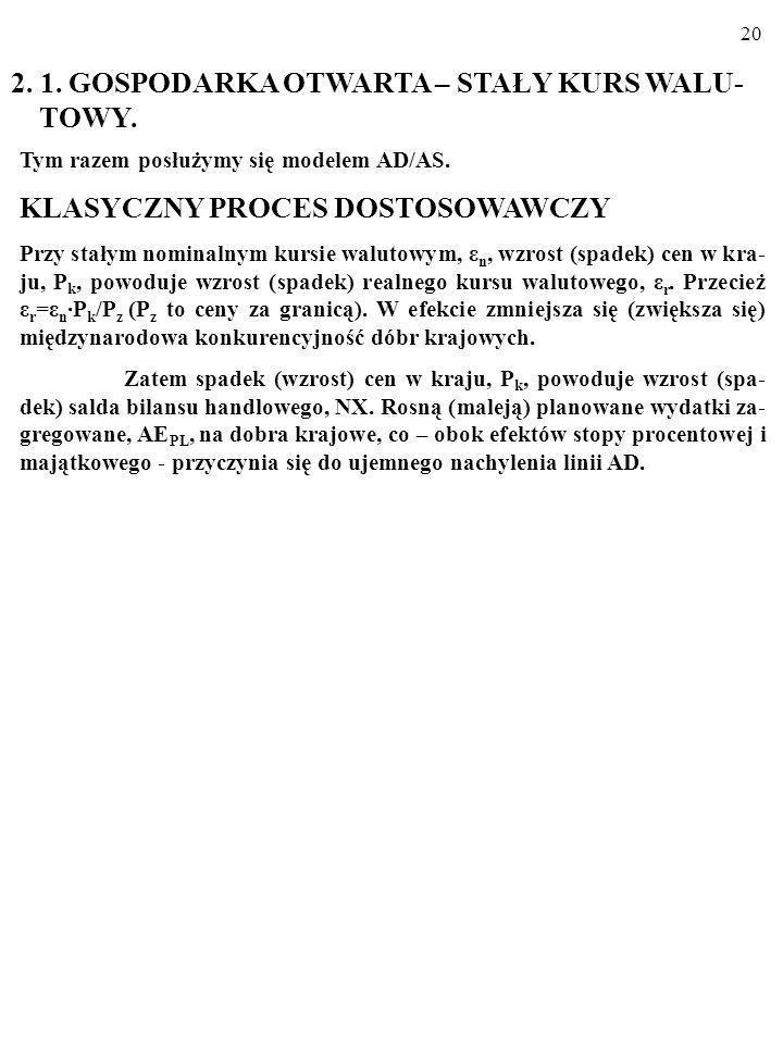 2. 1. GOSPODARKA OTWARTA – STAŁY KURS WALU- TOWY.