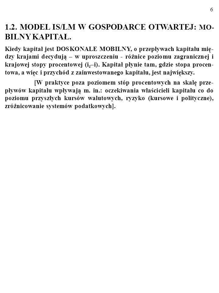 1.2. MODEL IS/LM W GOSPODARCE OTWARTEJ: MO- BILNY KAPITAŁ.
