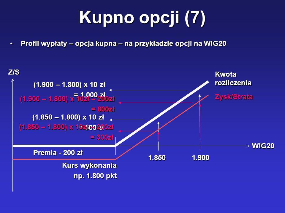 Kupno opcji (7) Profil wypłaty – opcja kupna – na przykładzie opcji na WIG20. WIG20. Z/S. Kwota rozliczenia.