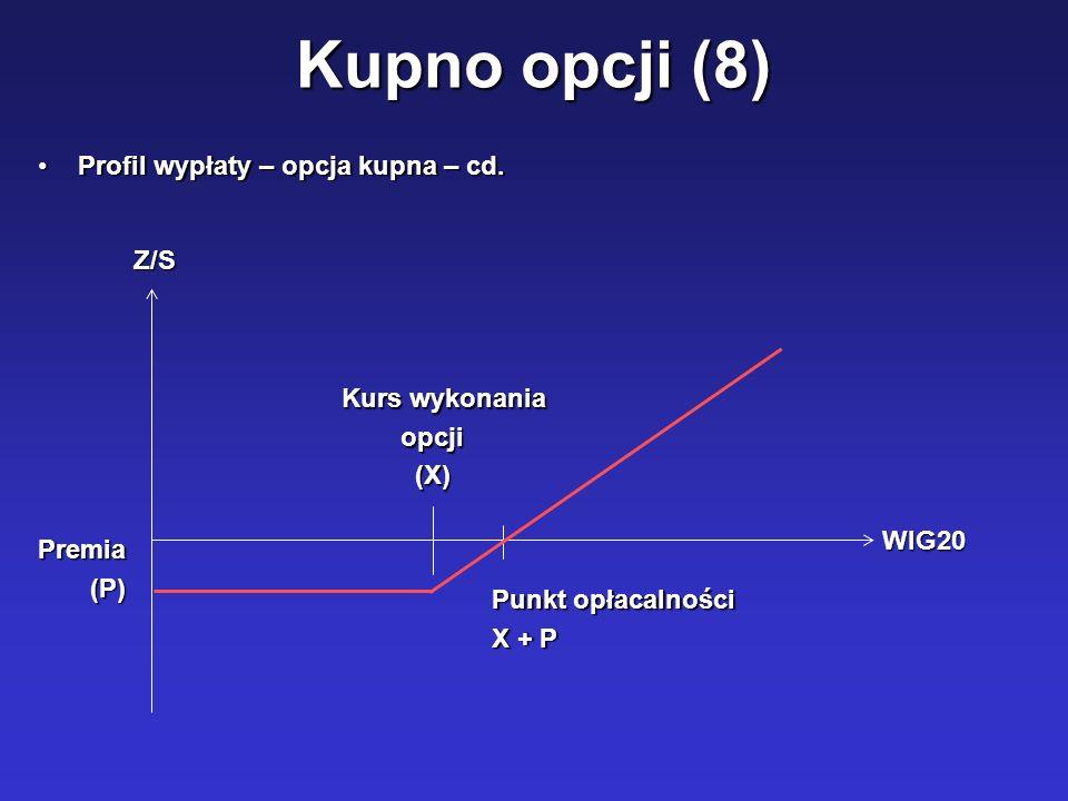 Kupno opcji (8) Profil wypłaty – opcja kupna – cd. Z/S Kurs wykonania