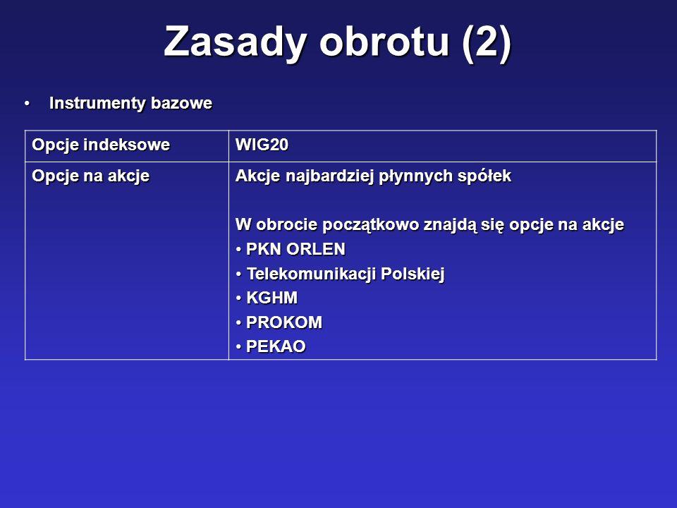 Zasady obrotu (2) Instrumenty bazowe Opcje indeksowe WIG20