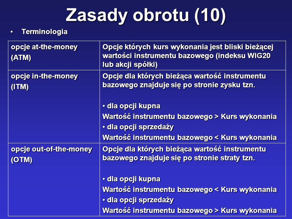 Zasady obrotu (10) Terminologia opcje at-the-money (ATM)
