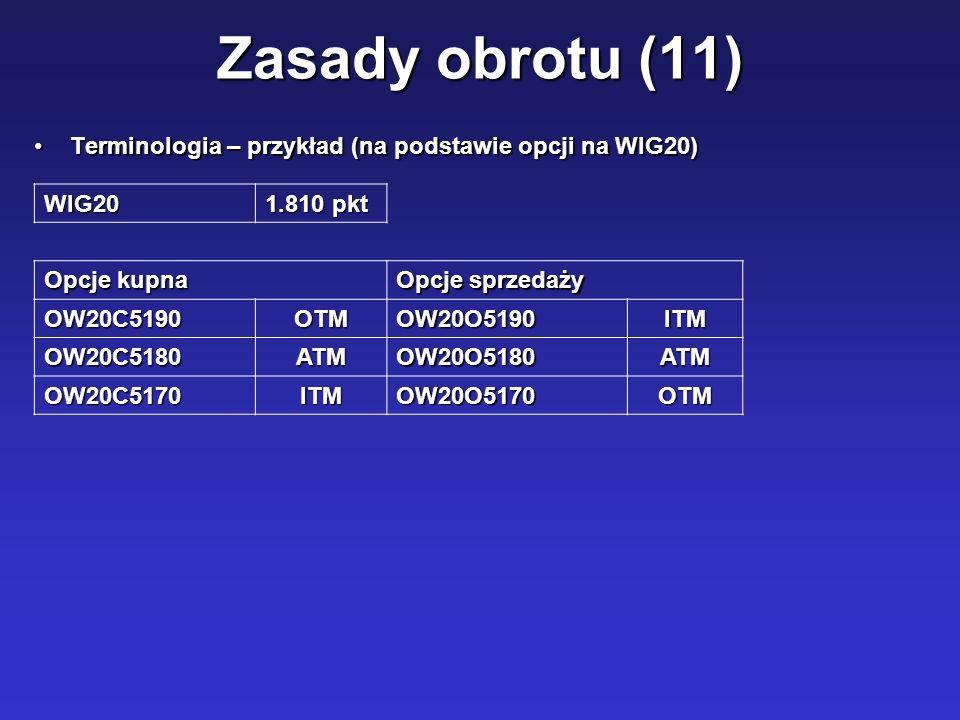 Zasady obrotu (11) Terminologia – przykład (na podstawie opcji na WIG20) WIG20. 1.810 pkt. Opcje kupna.