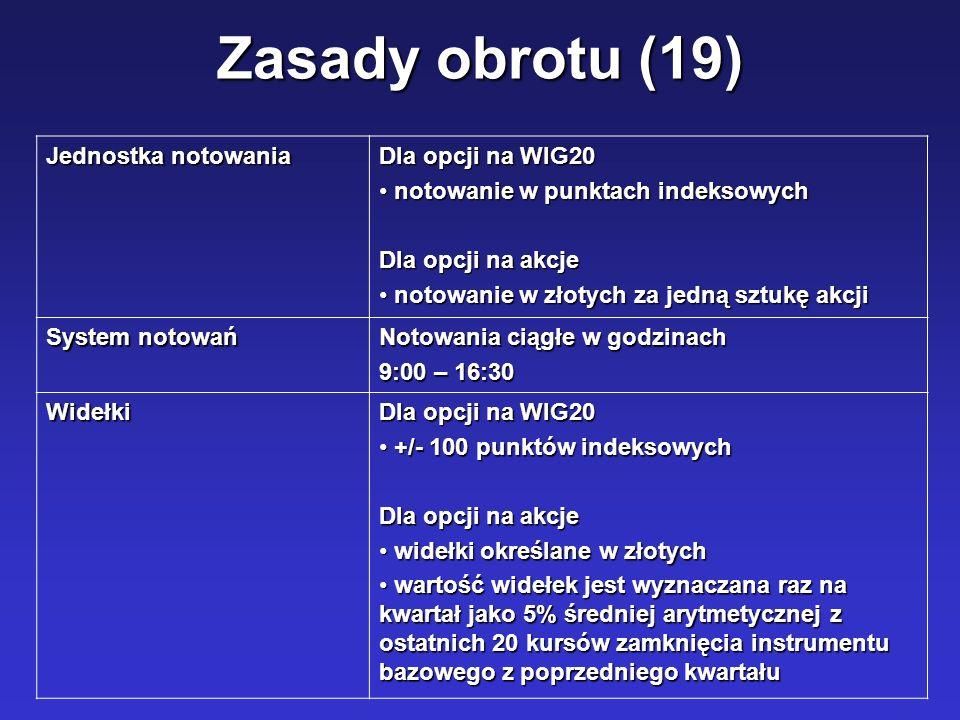 Zasady obrotu (19) Jednostka notowania Dla opcji na WIG20