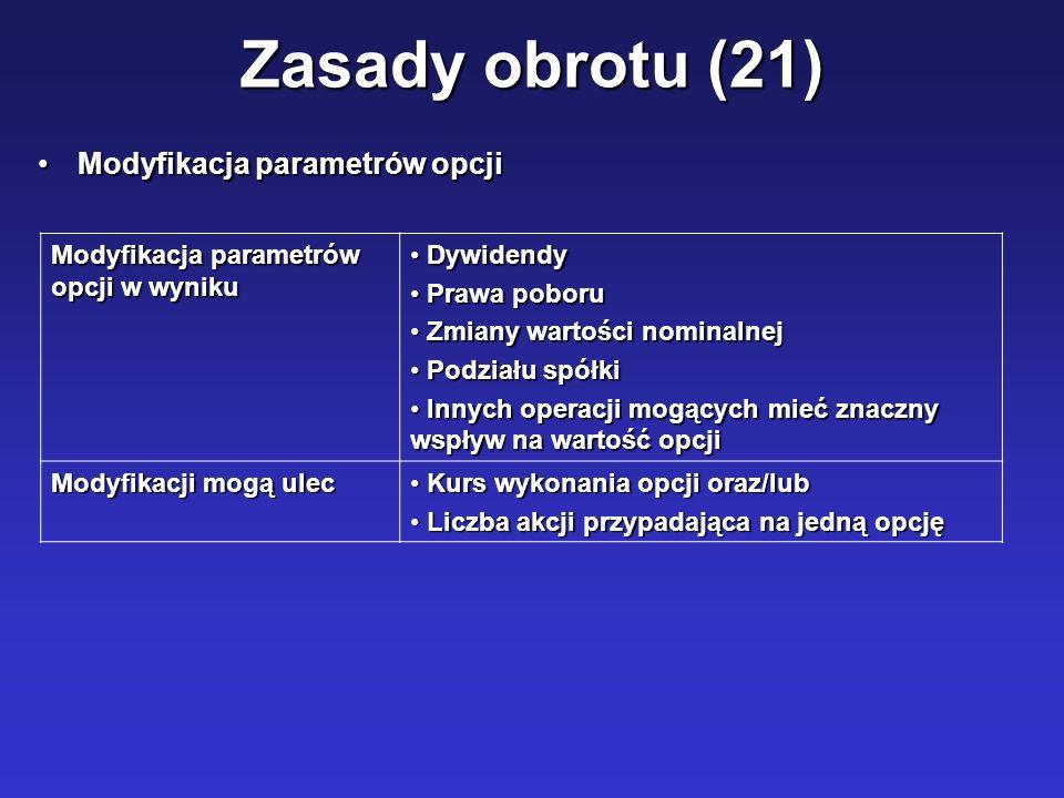 Zasady obrotu (21) Modyfikacja parametrów opcji
