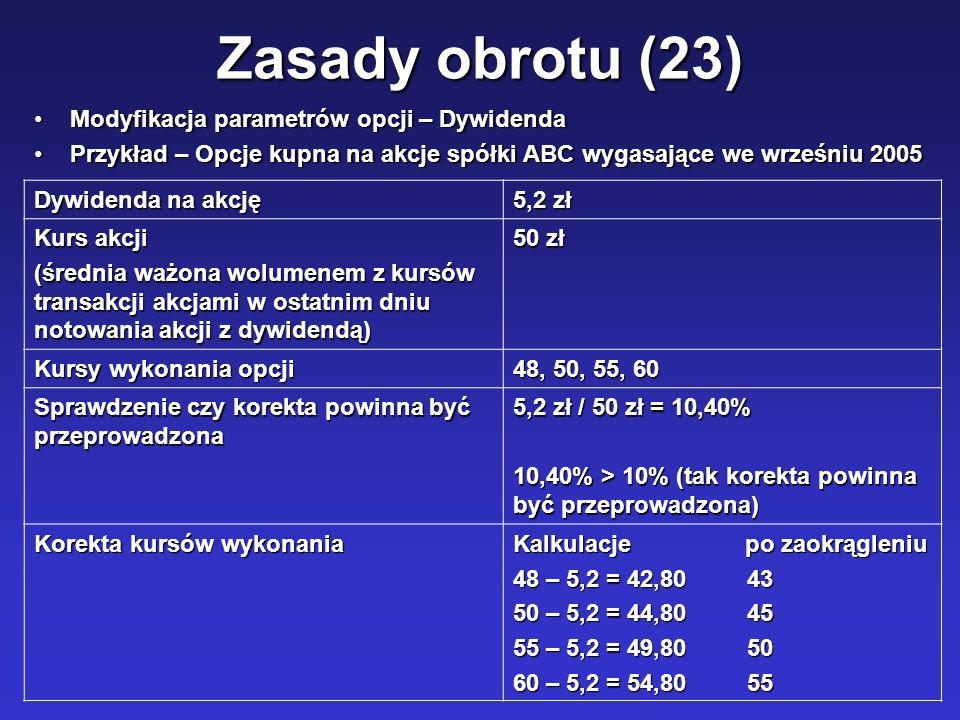 Zasady obrotu (23) Modyfikacja parametrów opcji – Dywidenda