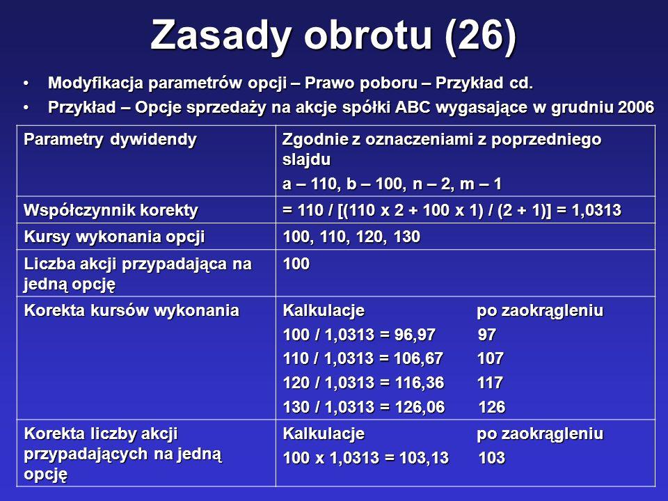 Zasady obrotu (26) Modyfikacja parametrów opcji – Prawo poboru – Przykład cd.