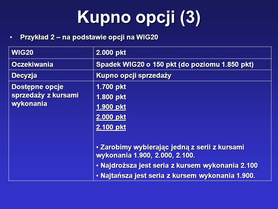 Kupno opcji (3) Przykład 2 – na podstawie opcji na WIG20 WIG20