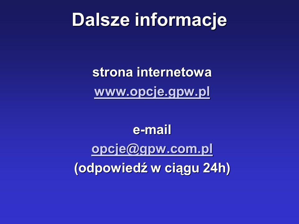 Dalsze informacje strona internetowa www.opcje.gpw.pl e-mail