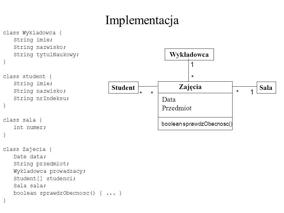 Implementacja Student Sala Wykładowca Zajęcia Data Przedmiot 1 *