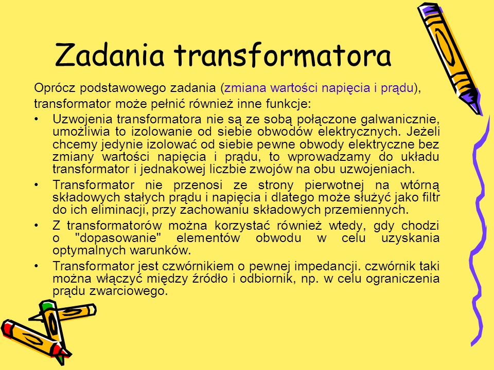 Zadania transformatora