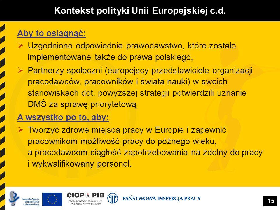 Kontekst polityki Unii Europejskiej c.d.