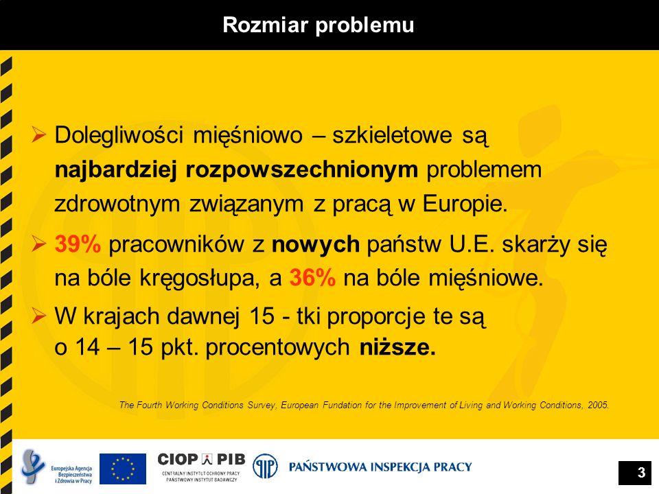 Rozmiar problemu Dolegliwości mięśniowo – szkieletowe są najbardziej rozpowszechnionym problemem zdrowotnym związanym z pracą w Europie.