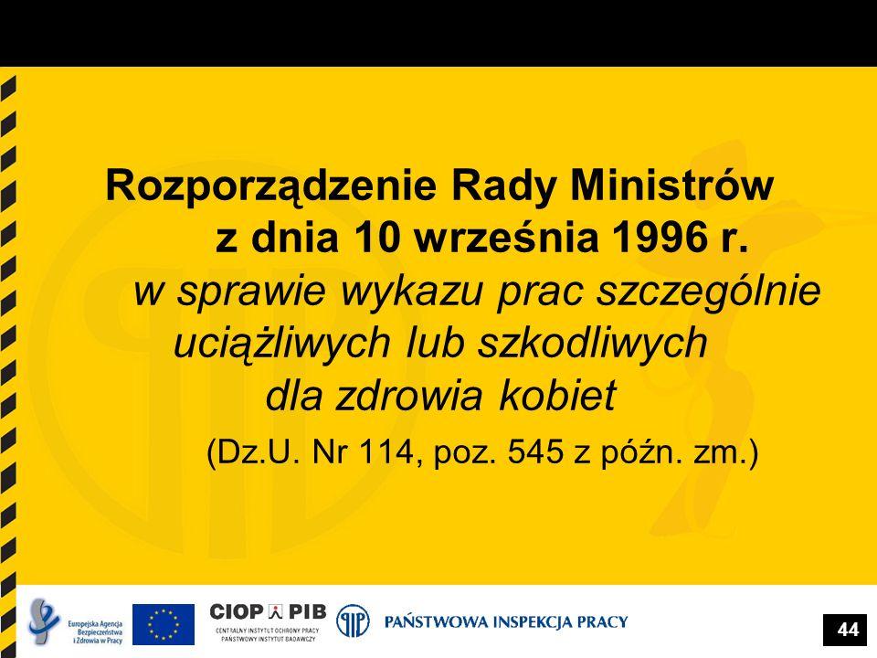 Rozporządzenie Rady Ministrów z dnia 10 września 1996 r