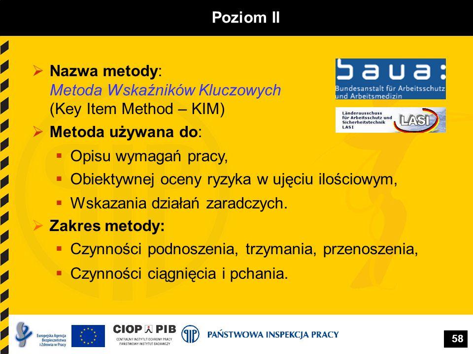 Poziom II Nazwa metody: Metoda Wskaźników Kluczowych (Key Item Method – KIM) Metoda używana do: Opisu wymagań pracy,