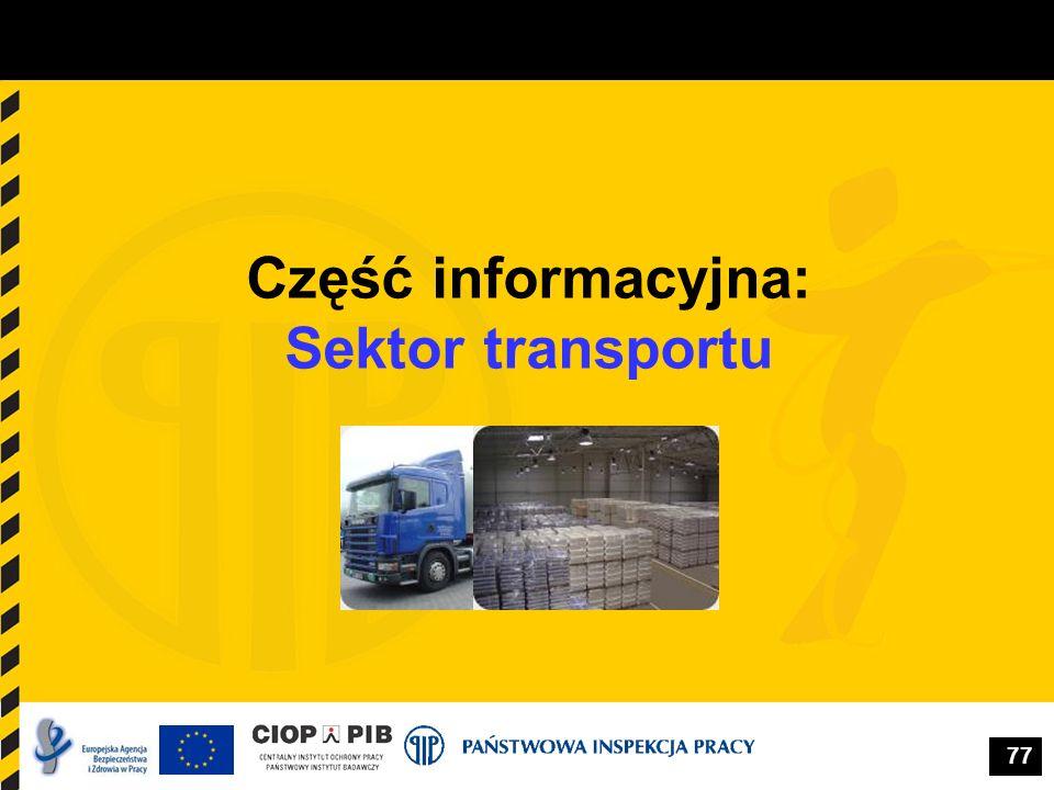 Część informacyjna: Sektor transportu