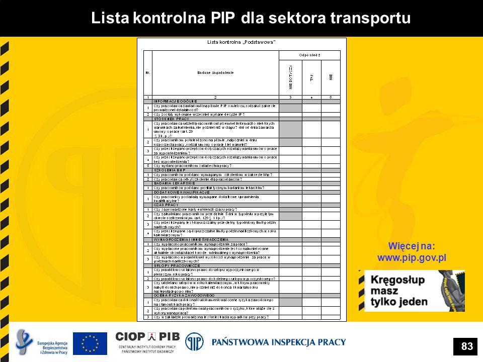 Lista kontrolna PIP dla sektora transportu Więcej na: www.pip.gov.pl
