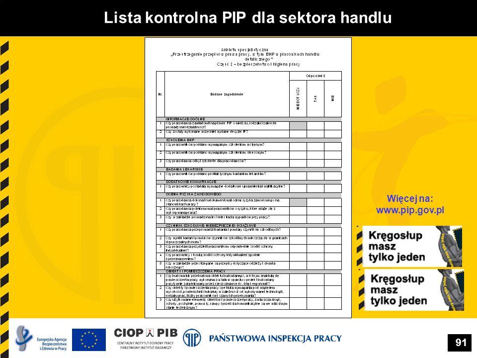 Lista kontrolna PIP dla sektora handlu Więcej na: www.pip.gov.pl