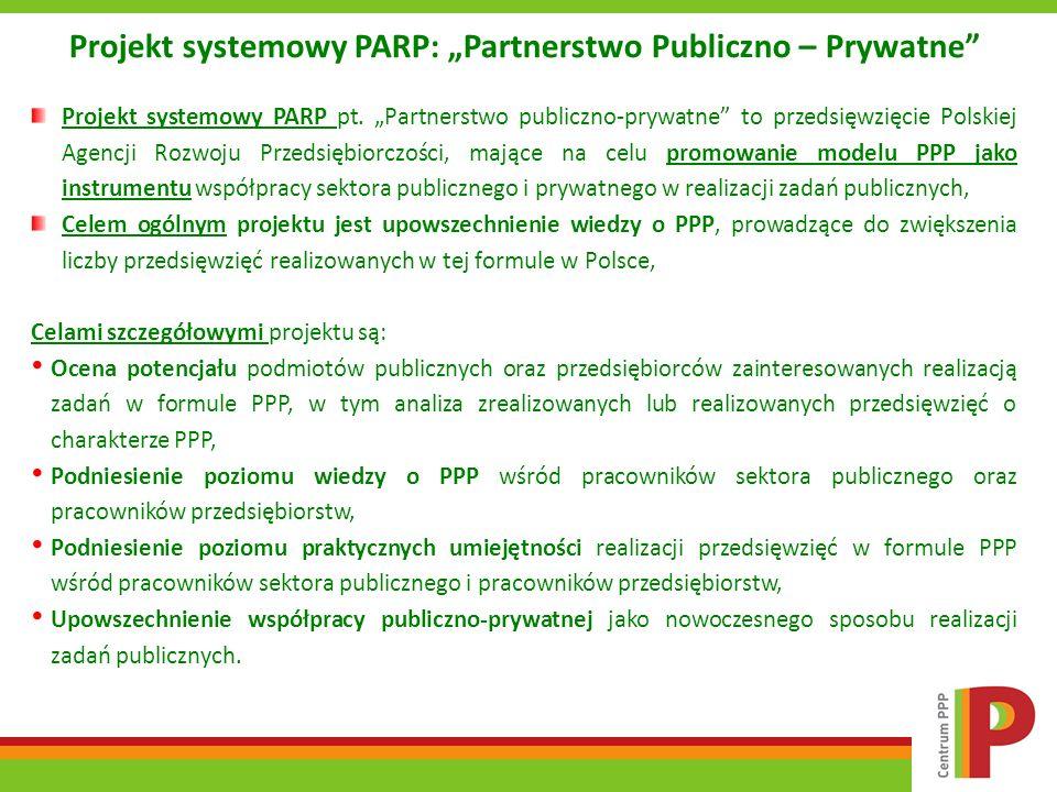 """Projekt systemowy PARP: """"Partnerstwo Publiczno – Prywatne"""