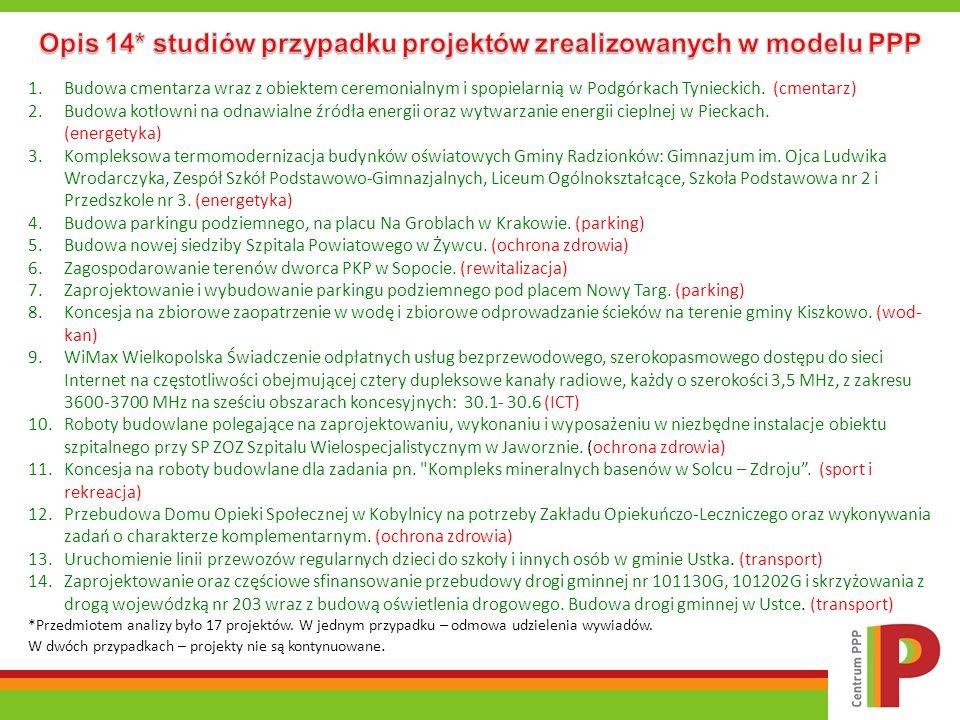Opis 14* studiów przypadku projektów zrealizowanych w modelu PPP