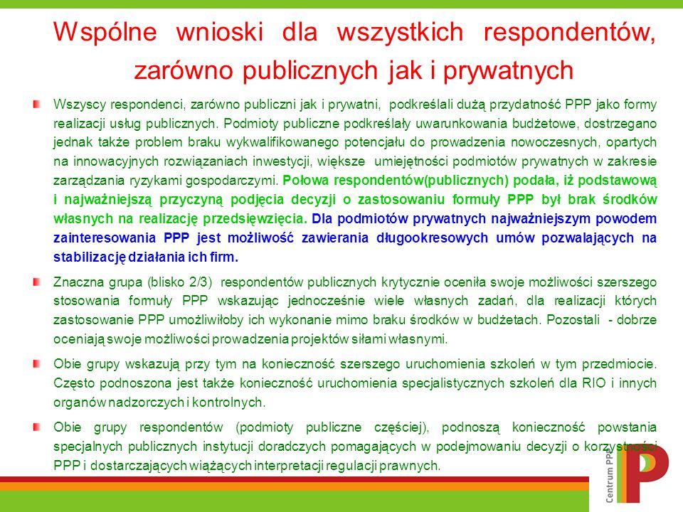 Wspólne wnioski dla wszystkich respondentów, zarówno publicznych jak i prywatnych