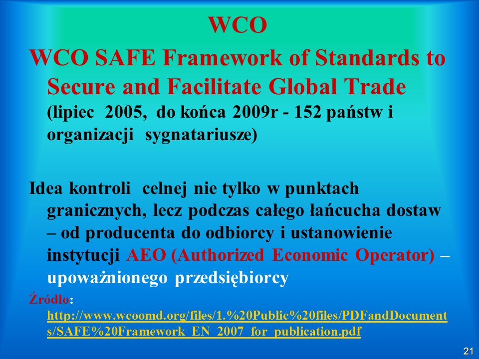 WCO WCO SAFE Framework of Standards to Secure and Facilitate Global Trade (lipiec 2005, do końca 2009r - 152 państw i organizacji sygnatariusze)