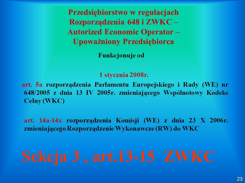 Przedsiębiorstwo w regulacjach Rozporządzenia 648 i ZWKC – Autorized Economic Operator – Upoważniony Przedsiębiorca