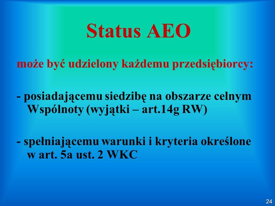 Status AEO może być udzielony każdemu przedsiębiorcy: