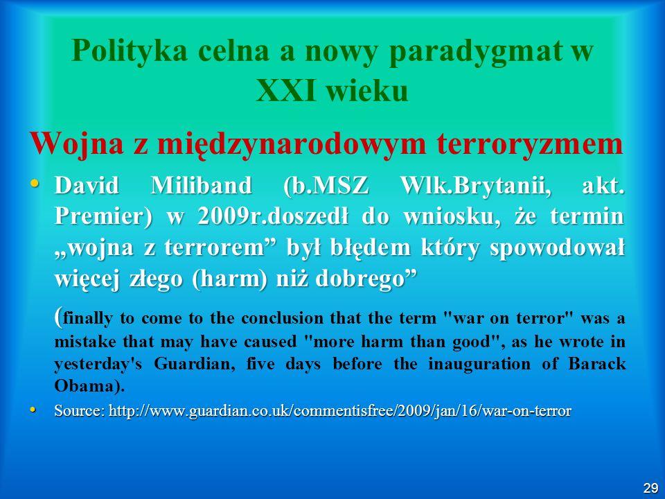 Polityka celna a nowy paradygmat w XXI wieku
