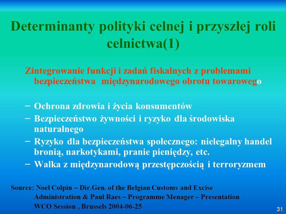 Determinanty polityki celnej i przyszłej roli celnictwa(1)