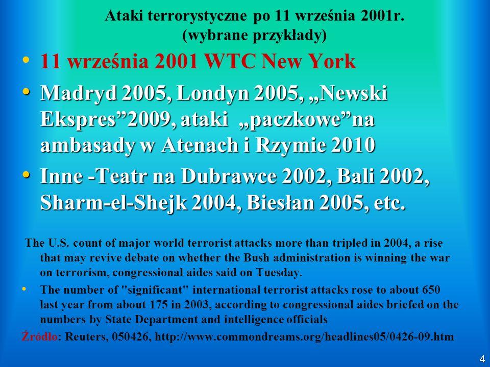 Ataki terrorystyczne po 11 września 2001r. (wybrane przykłady)