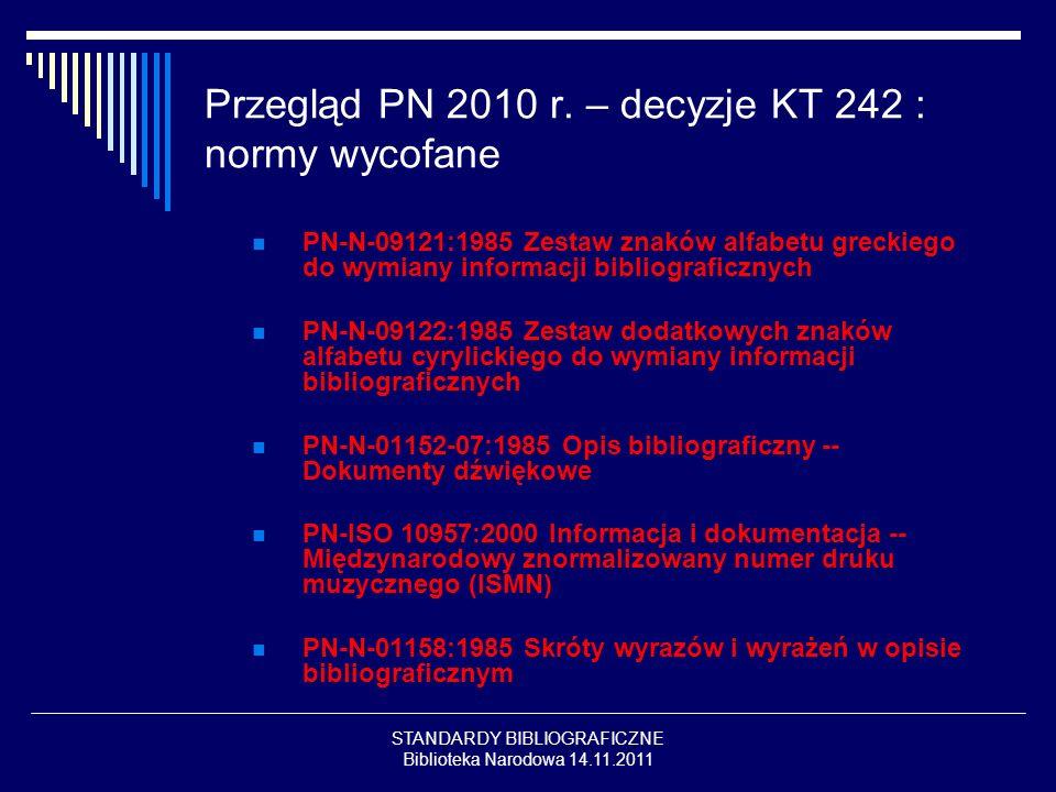Przegląd PN 2010 r. – decyzje KT 242 : normy wycofane