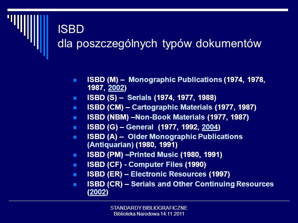 ISBD dla poszczególnych typów dokumentów