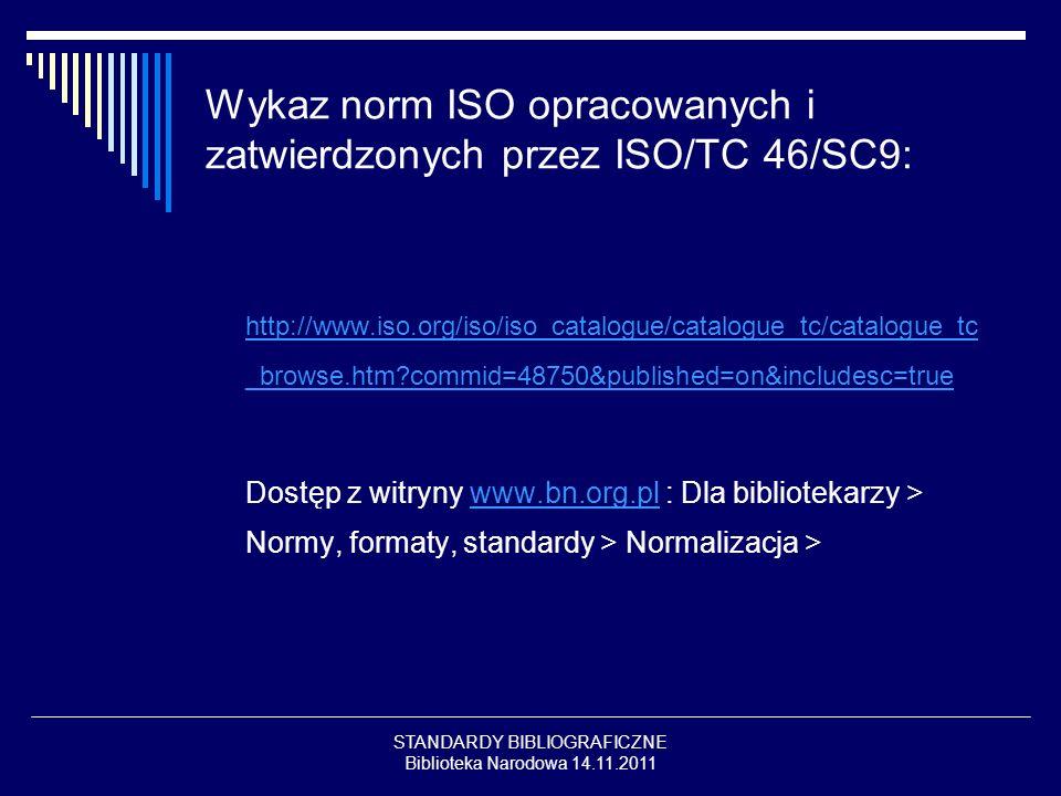 Wykaz norm ISO opracowanych i zatwierdzonych przez ISO/TC 46/SC9:
