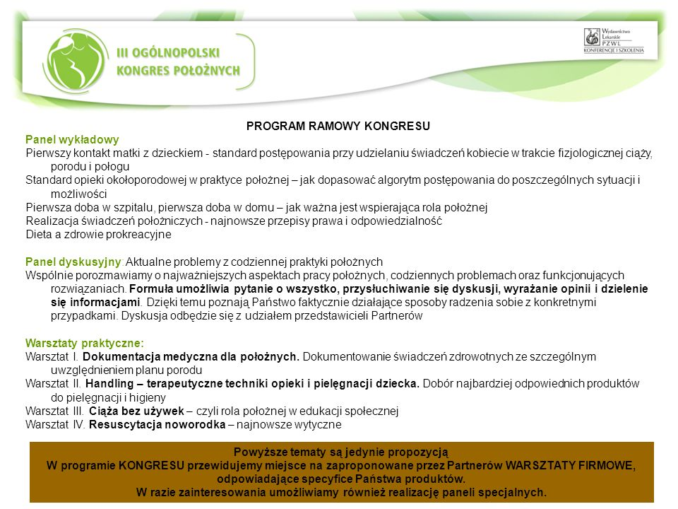 PROGRAM RAMOWY KONGRESU