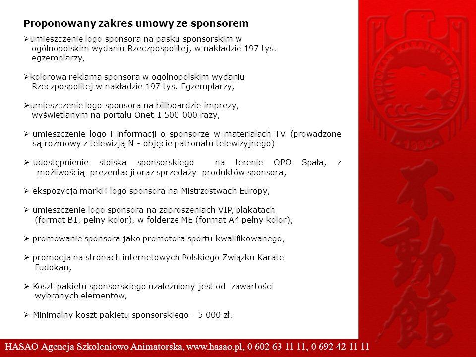 Proponowany zakres umowy ze sponsorem