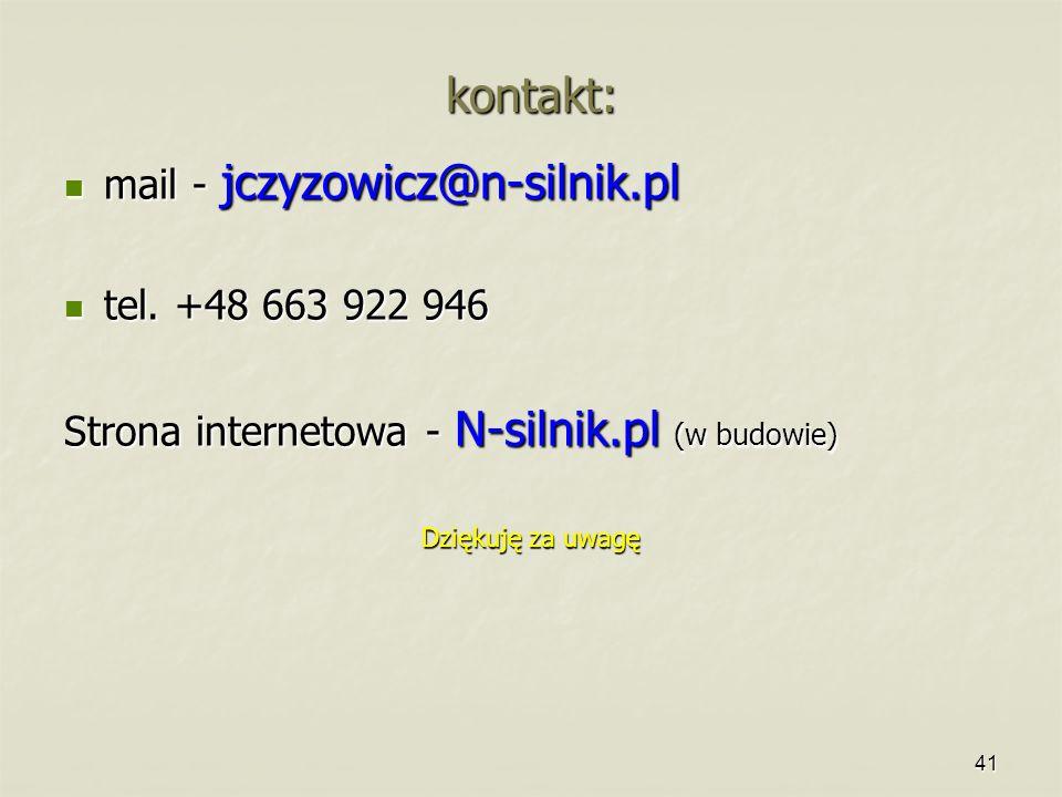 kontakt: mail - jczyzowicz@n-silnik.pl tel. +48 663 922 946