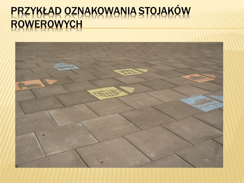 Przykład oznakowania stojaków rowerowych