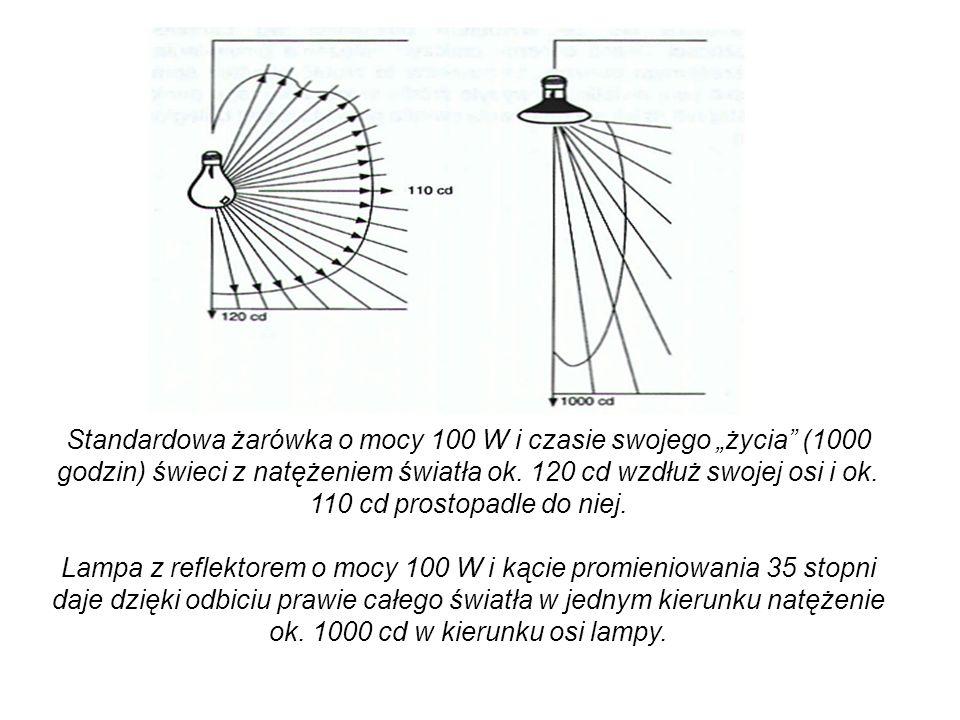 """Standardowa żarówka o mocy 100 W i czasie swojego """"życia (1000 godzin) świeci z natężeniem światła ok."""