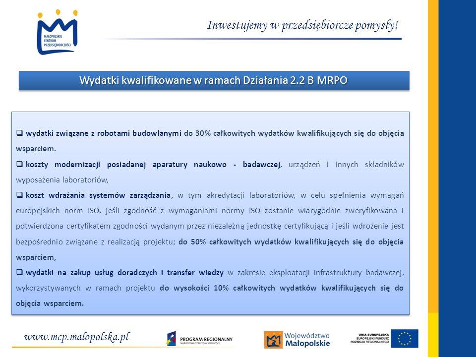 Wydatki kwalifikowane w ramach Działania 2.2 B MRPO