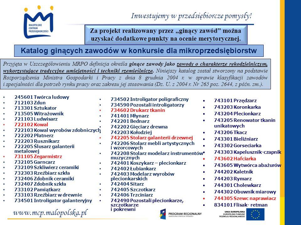 Katalog ginących zawodów w konkursie dla mikroprzedsiębiorstw