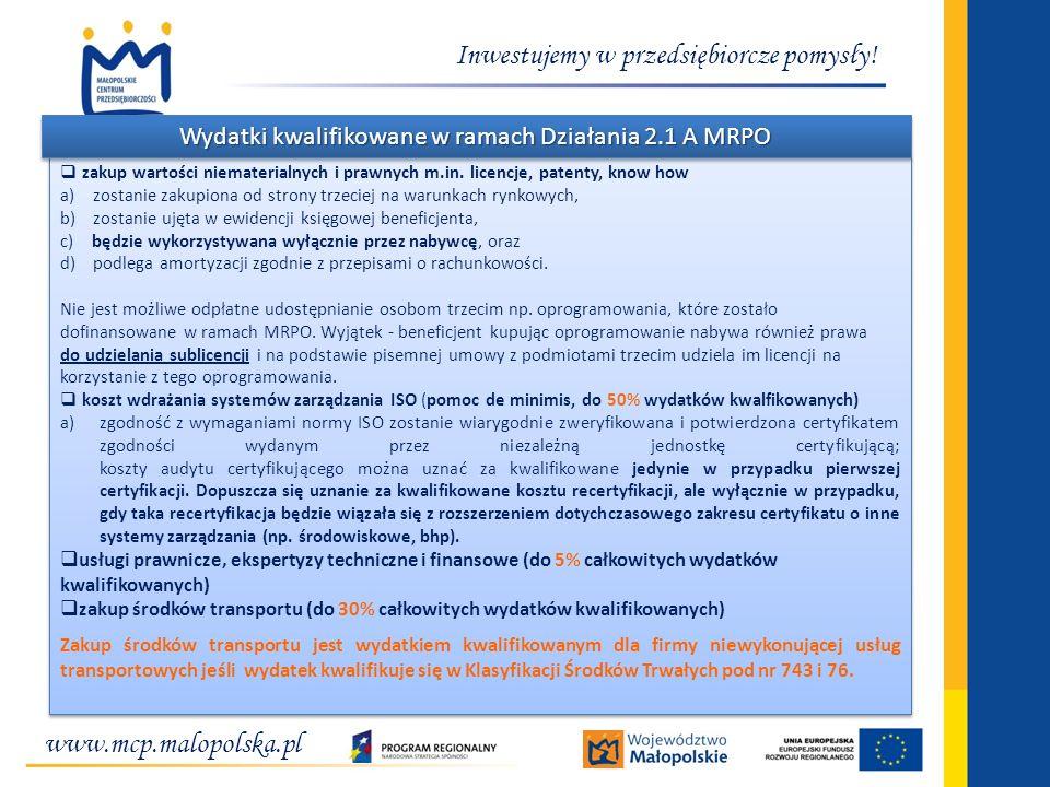 Wydatki kwalifikowane w ramach Działania 2.1 A MRPO