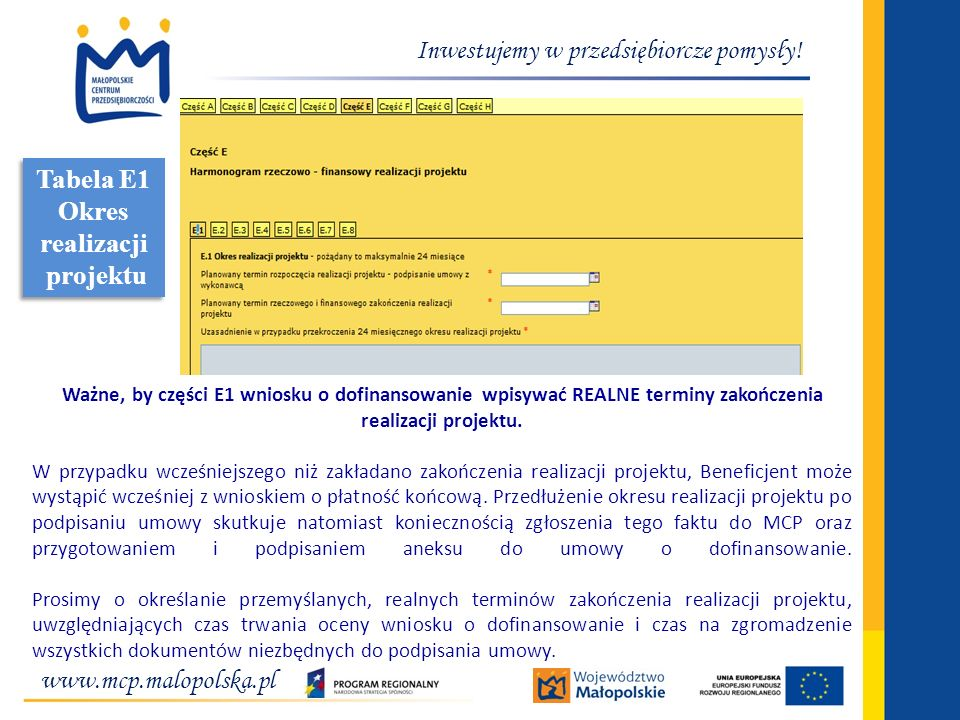 Tabela E1 Okres realizacji projektu