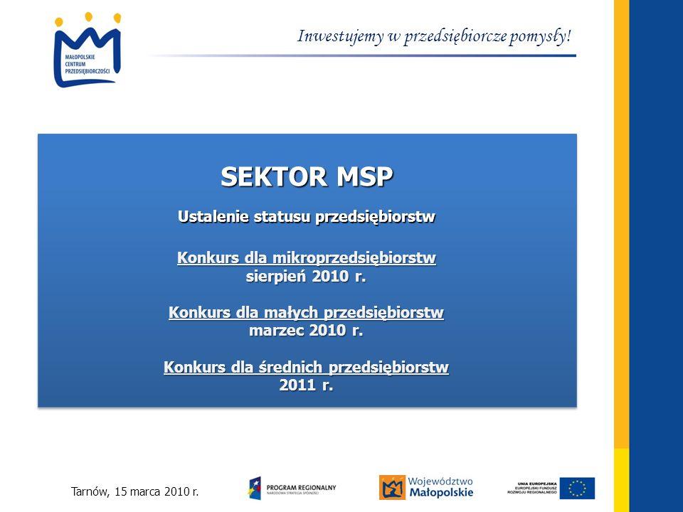 SEKTOR MSP Inwestujemy w przedsiębiorcze pomysły!